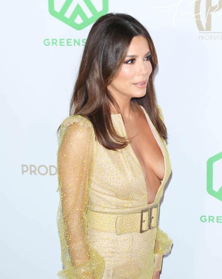 Грудь звезды отлично просматривалась в вырезе ее платья.