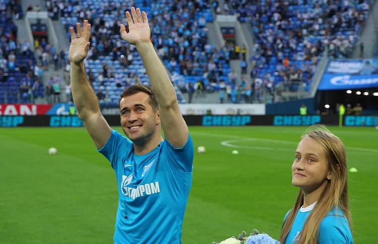 Александр Кержаков после своего прощального матча, 2017 год.