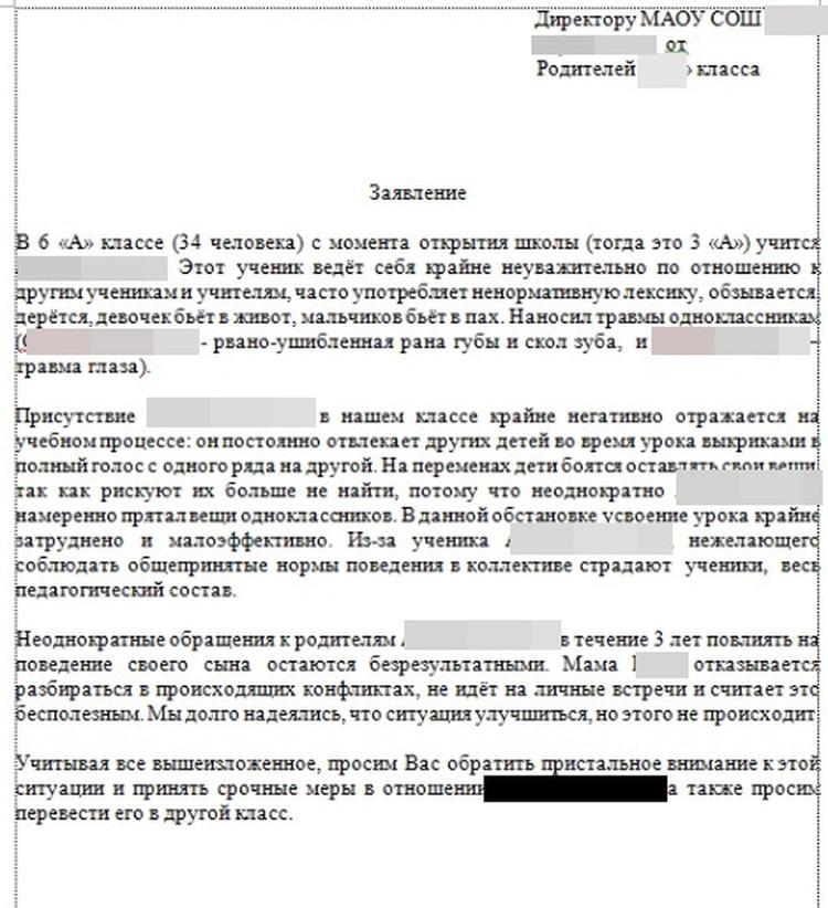 Коллективное письмо родителей директору школы. Под ним 17 подписей. Фото: предоставлено Ольгой ВОЛКОВОЙ.