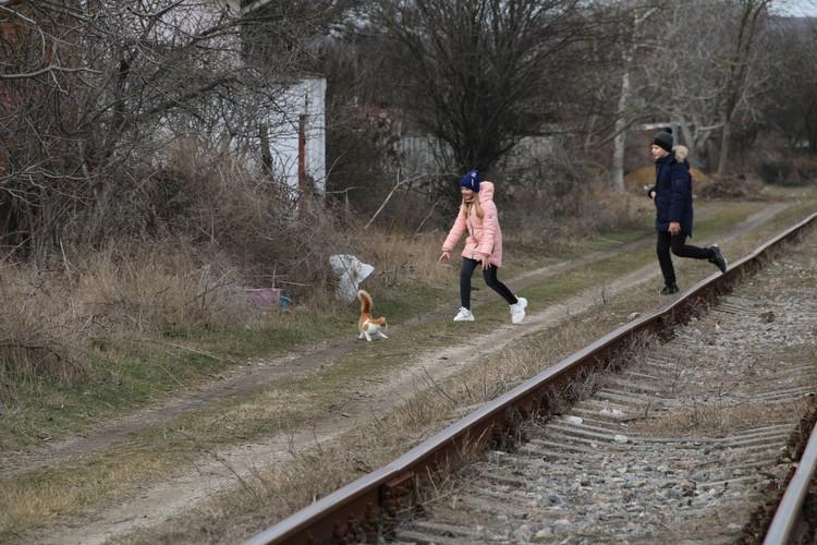 Дети весело бегают по шпалам и гоняют местную живность
