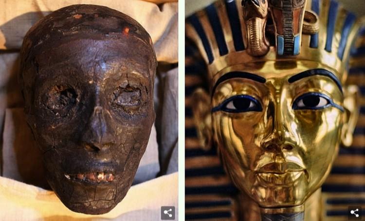 Голова Тутанхамона и его золотая маска.