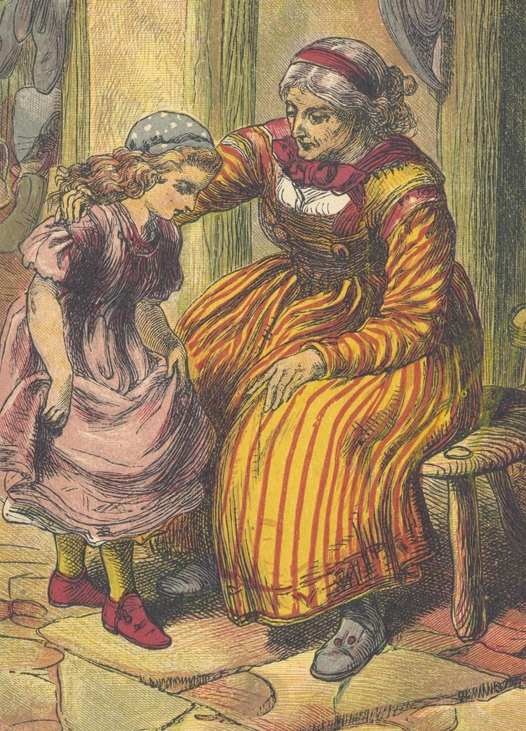 """Иллюстрация к сказке """"Красные башмачки"""" из книги 1879 года."""