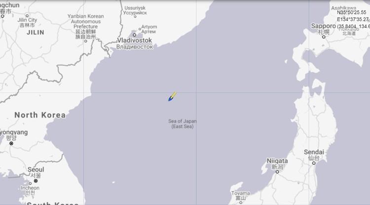 Лайнер взял курс на Пусан. Источник: marinetraffic.com