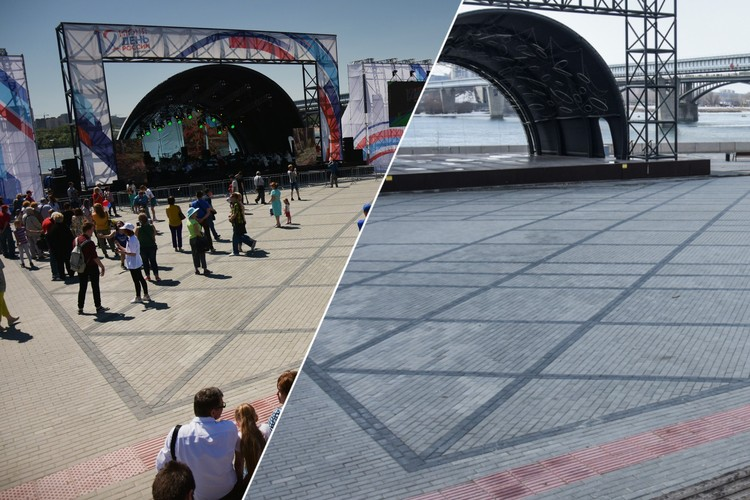 В праздничные дни и выходные на Михайловской набережной обычно собирается много народа. Но сейчас там пустынно.