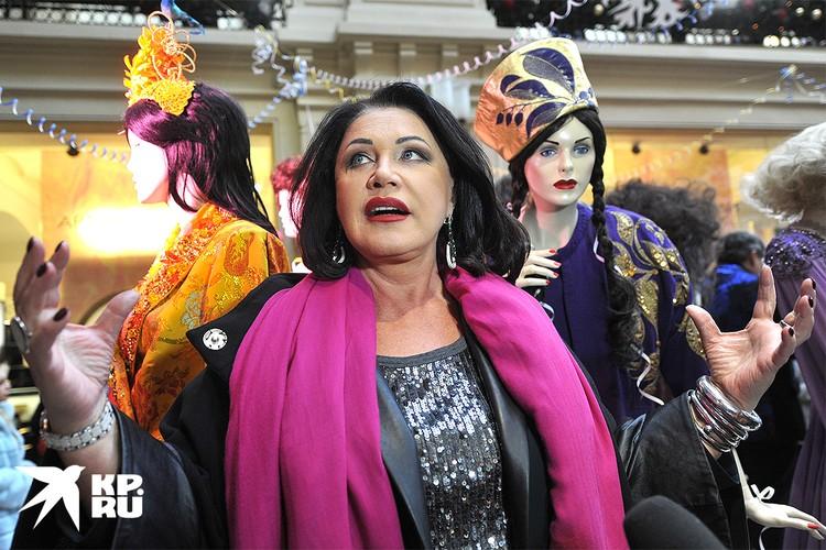 Певица Надежда Бабкина на открытии выставки костюмов Александра Васильева в ГУМе, 2014 г.