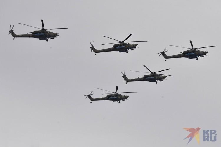 Пилотажная группа «Беркуты» на вертолетах МИ-28Н «Ночной охотник».