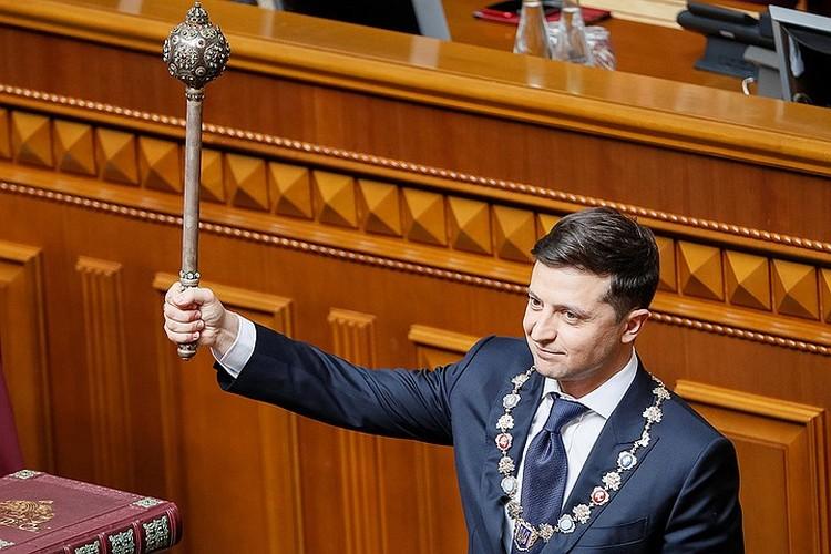 Владимир Зеленский во время церемонии вступления в должность, май 2019 г.