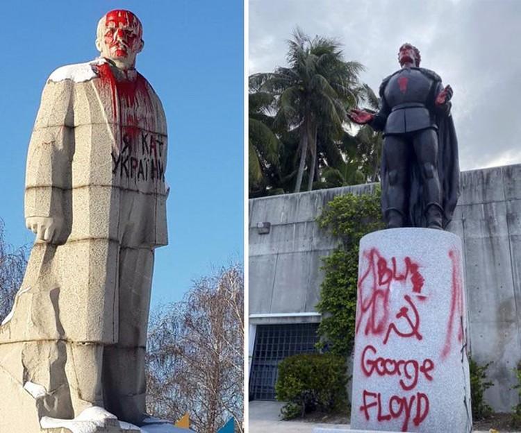 Разрисованная статуя Ленина в Лисичанске Луганской области и статуя Христофора Колумба облитая краской в Майами