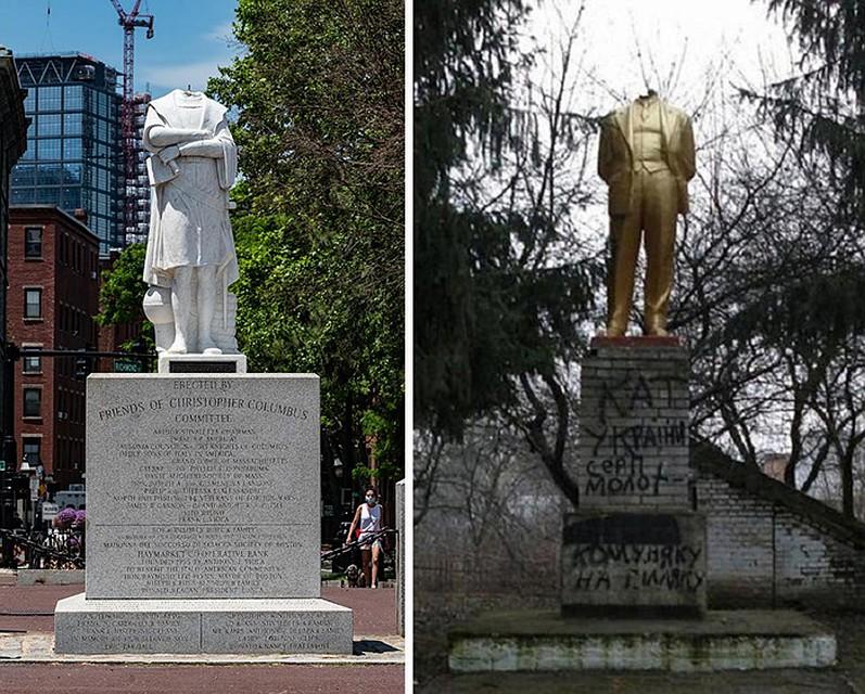 Обезглавленный Хористофор Колумб в Бостоне 10 июня 2020 года и Обезглавленный памятник Ленину в селе Побережное Винницкого района 2014 год Фото: GLOBAL LOOK PRESS