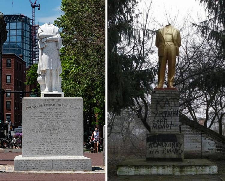 Обезглавленный Хористофор Колумб в Бостоне 10 июня 2020 года и Обезглавленный памятник Ленину в селе Побережное Винницкого района 2014 год