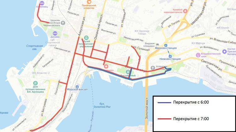 Карта перекрытия дорожного движения во время Парада Победы