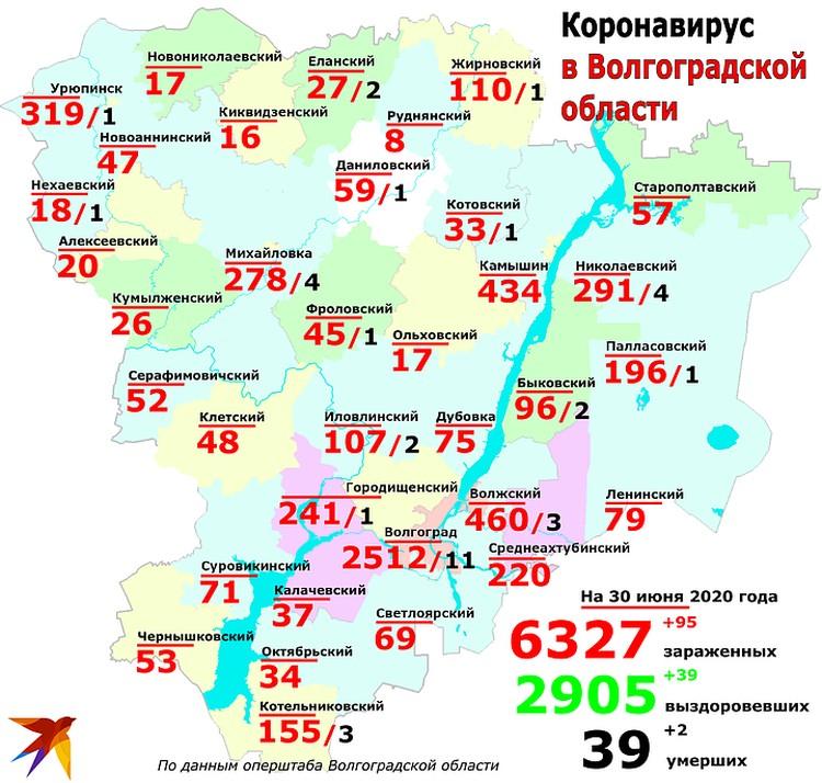 Сегодня основная масса заболевших - из Волгограда, на втором месте - Камышинский район.