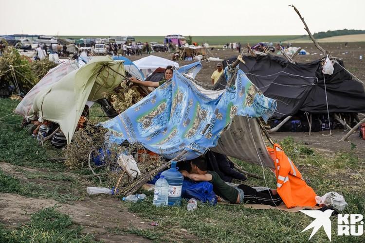 Свои жилища в поле мигранты делают из всего, что оказалось под рукой