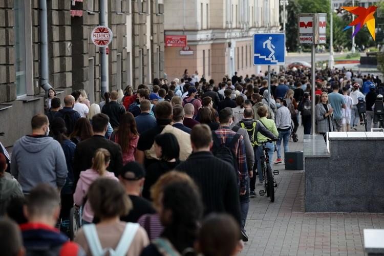 Акция несогласных в Минске продлилась до позднего вечера