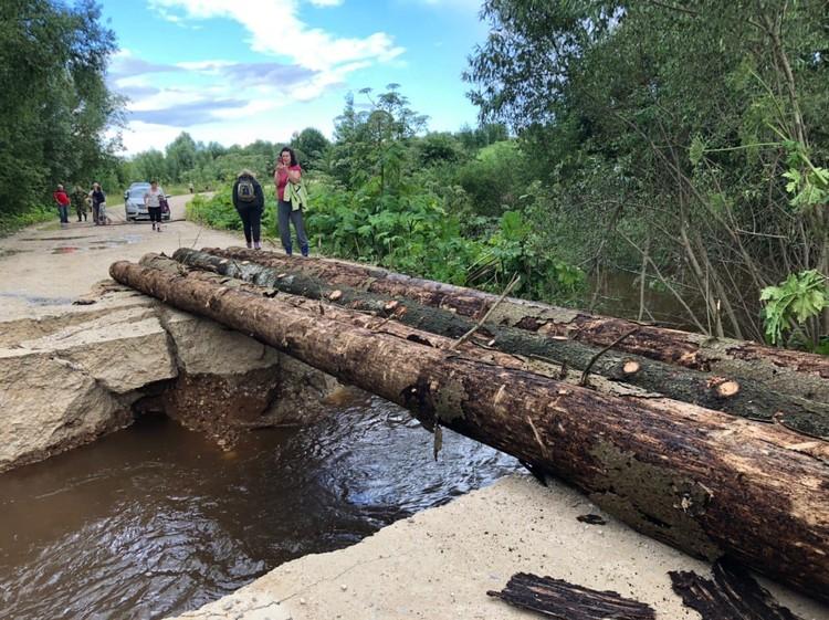 Пока проложили временный мост. Фото: пресс-служба администрации Можайского ГО
