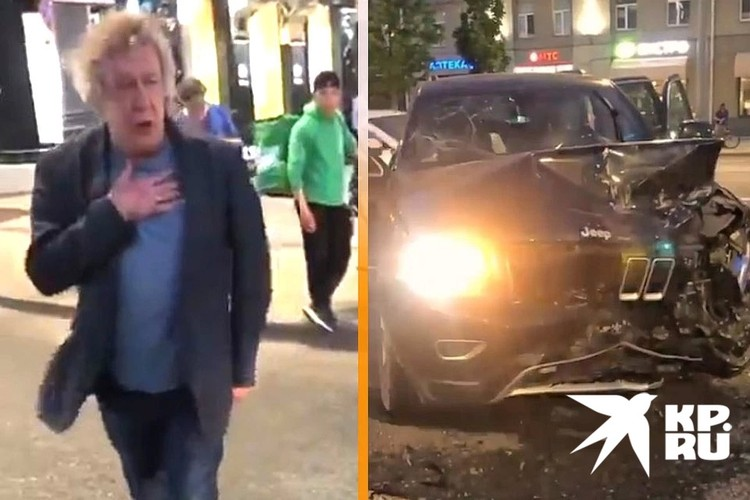 Ефремов и его разбитый внедорожник на месте ДТП.