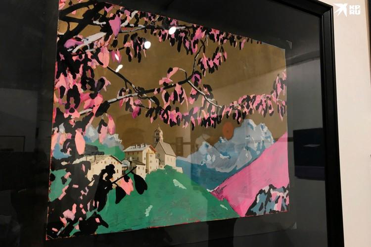 В смешанной технике с использованием акриловых красок Цой выполнил «Сакуру».