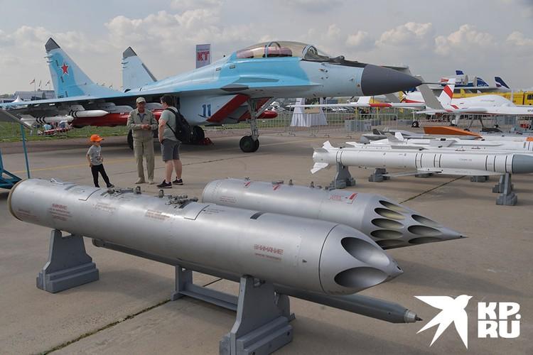 Многофункциональный фронтовой истребитель МиГ-35 на Международном авиационно-космическом салоне МАКС-2019.