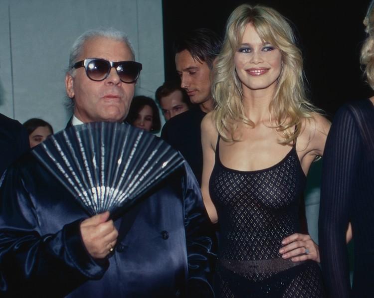 С дизайнером Карлом Лагерфельдом, снимок из начала 90-х.