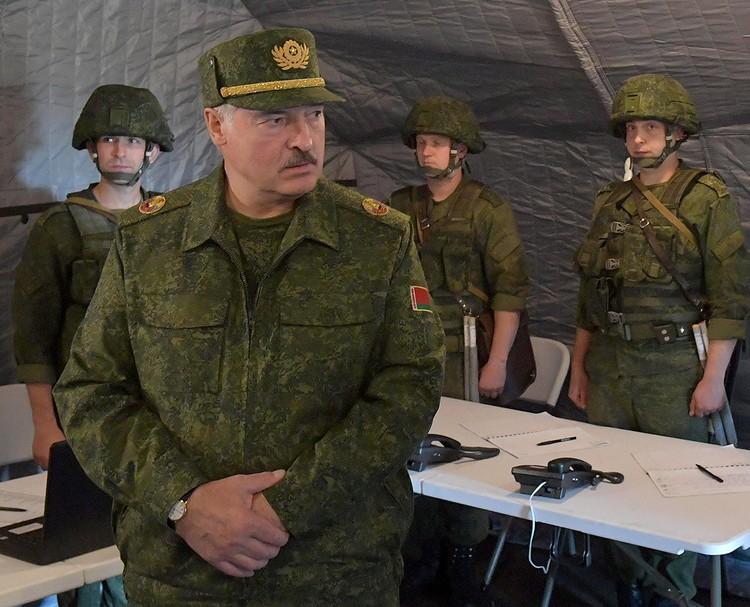 Александр Лукашенко на учениях под Гродно, август 2020 г.