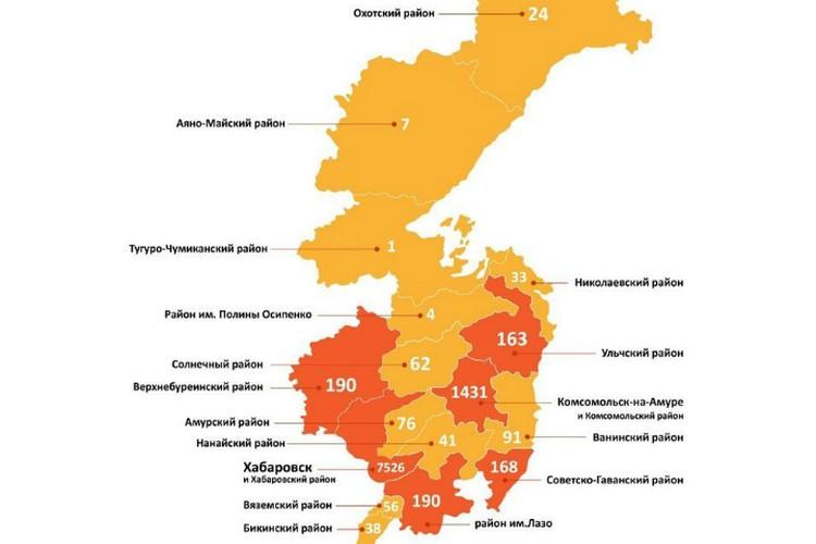 Заболеваемость коронавирусом в районах региона ФОТО: Региональный минздрав