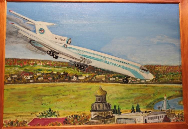 Момент аварийной посадки запечатлен на картине. Фото предоставлено Ижемским районным историко-краеведческим музеем.