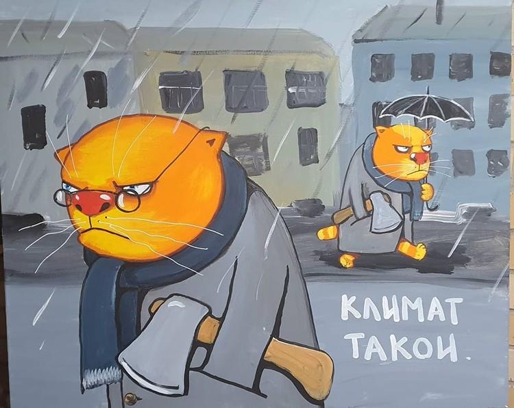 Одна из картин Ложкина с отсылкой на частые убийства с расчленениями в Санкт-Петербурге. Фото: instagram.com/vasya_lozhkin