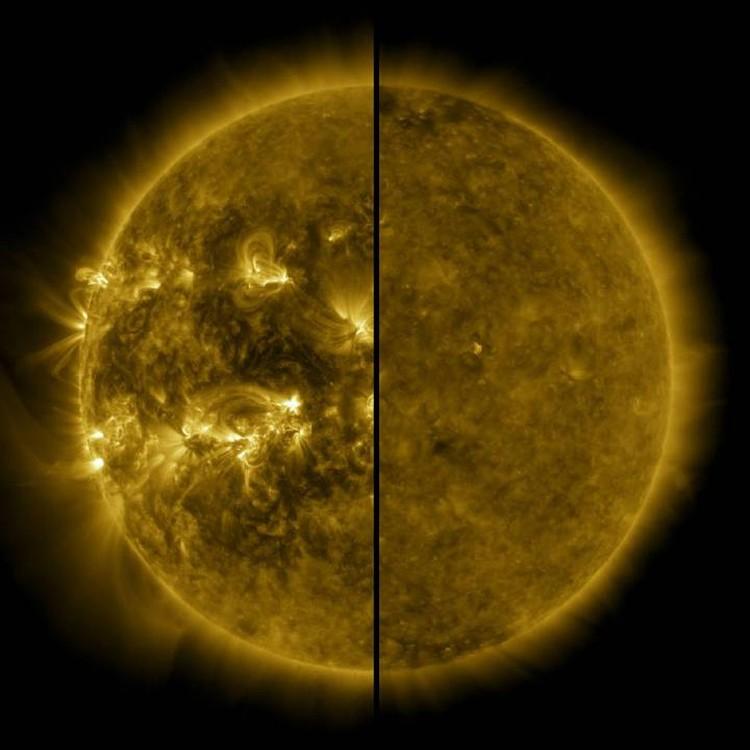Светило у нас одно, но бывает разным. Слева оно так выглядело в апреле 2014 года в период максимума активности предыдущего цмкла.Справа - оно же но в спокойном состоянии в декабре 2019 года.