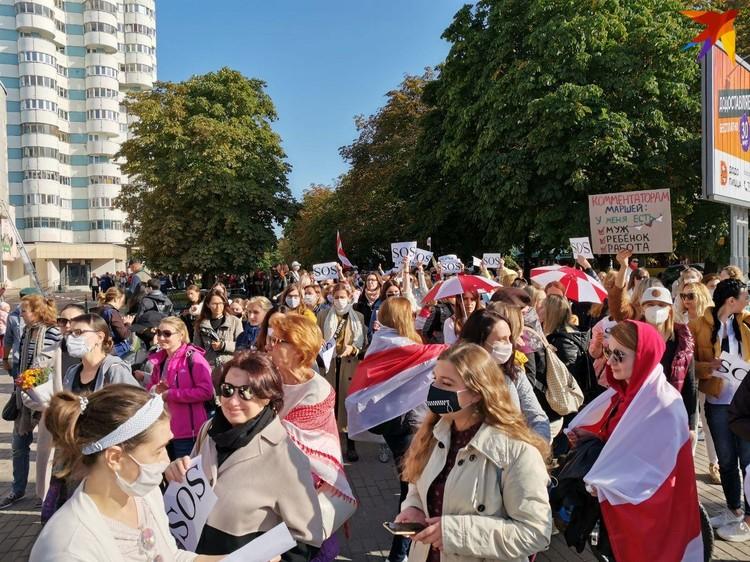 Участницы женского марша 19 сентября в Минске.