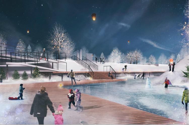 По задумке, обновленный парк смог бы активно «работать» и в холодное время года. Фото: Концепция СПбГАСУ