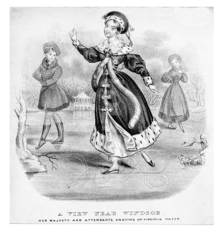 Королева Виктория катается на коньках. Гравюра 1838 года