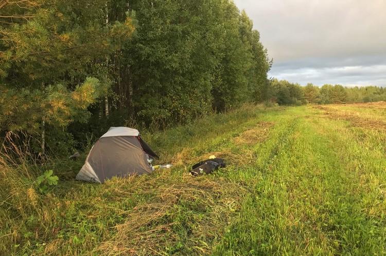 Во время путешествия спортсмен нередко ночевал в палатке на лоне природы. Фото: Из личного архива Александра Москаленко