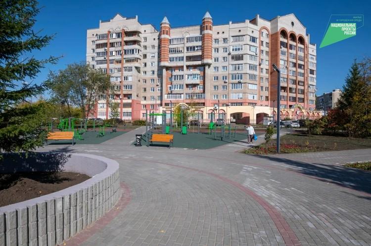 В обновленном сквере нашлось место и для занятий спортом. Фото: Вячеслав Андреев
