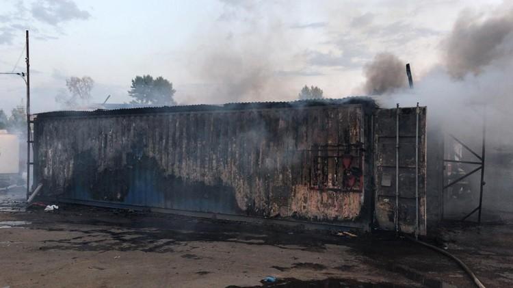 100 квадратных метров сгоревшего мусора. Фото: МЧС по Московской области