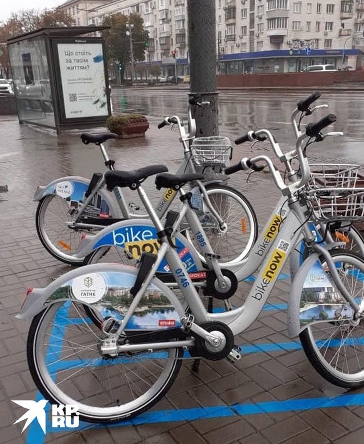 На велопарковках под дождем - никому не нужные велосипеды Кличко, который, победив на выборах мэра, укатил на Красное море побаловаться серфингом.