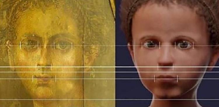 Портрет мальчика на саркофаге и его реконструированное лицо. Фото: royalsocietypublishing.org