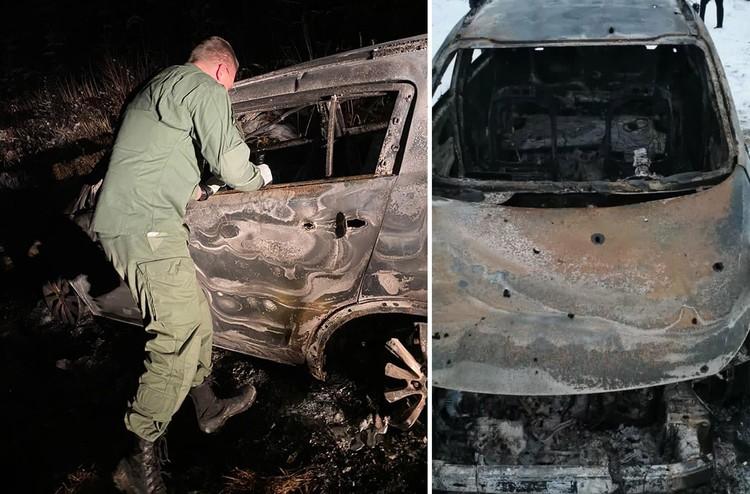 В корпусе сгоревшей машины видны пулевые отверстия. Фото: ГСУ СК по Московской области