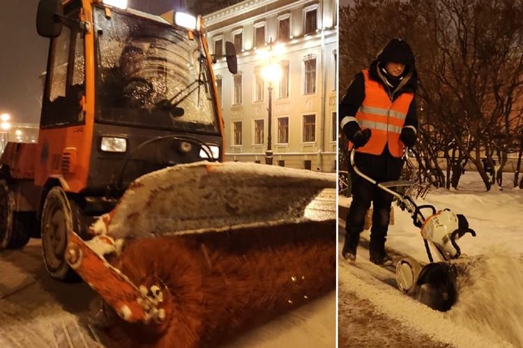 На выручку дворникам в уборке тротуаров приходит малая техника. Фото: комитет по благоустройству