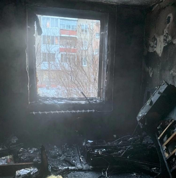 Сгоревшая комната. Фото: Александра Иванова.