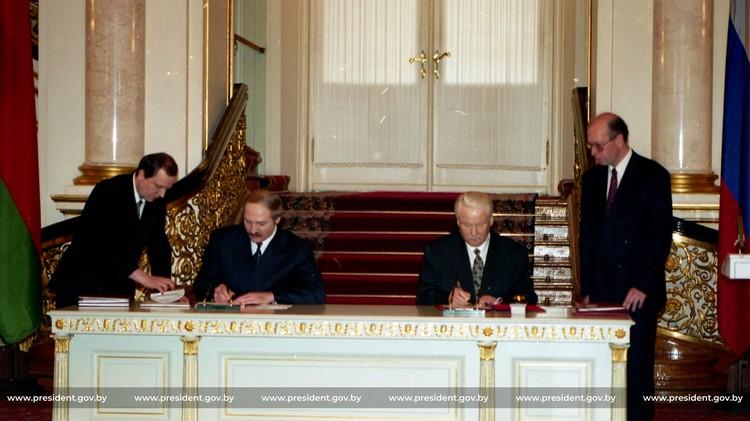 Подписание союза России и Беларуси, апрель 1997