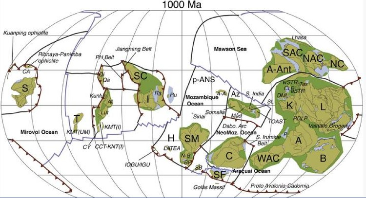 Так плиты и континенты были сгруппированы миллиард лет назад.