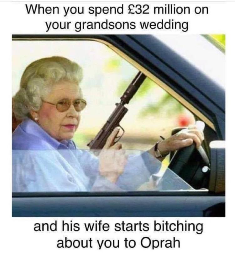 Когда потратила 32 млн фунтов на свадьбу внука, а его жена начинает сплетничать о тебе с Опрой