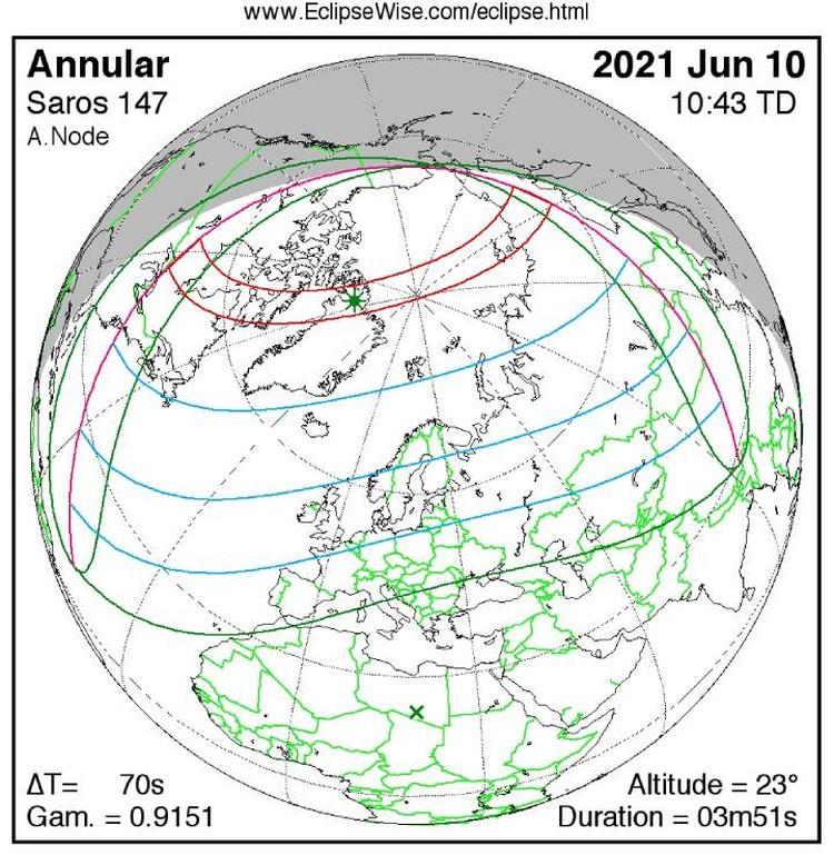 Движение тени и полутеней по поверхности Земли во время затмения 10 июня 2021 года.