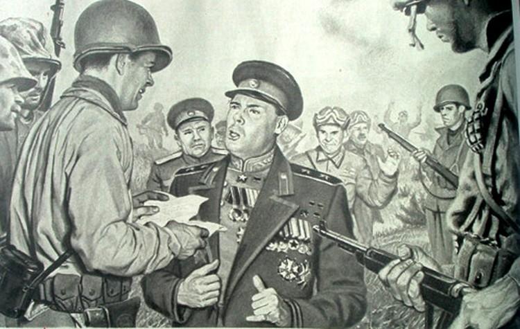 По воле авторов рисунка из журнала Collier's, генерал Василий Сталин добровольно сдался в плен.