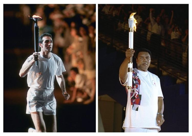 Слева на право: Эстафета Олимпийского огня «Барселона 1992»; Мохаммед Али на церемонии открытия  Олимпийских игр «Афины 1996»