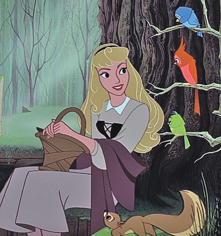 «Спящая красавица» (мультфильм, 1959) Аврора- невинная 16-летняя блондинка в розовом платье и с фиалковыми глазами. Изначально источником вдохновения для аниматоров была Одри Хепберн.