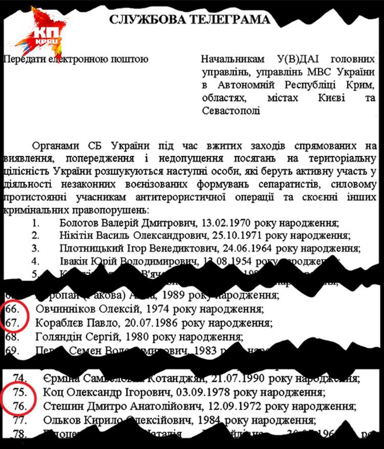 Такие вот циркуляры разослала СБУ в регионы Украины (причем зачем-то и в Крым с Севастополем). Под номерами 66, 67, 75 и 76 в этом списке- журналисты «Комсомолки».