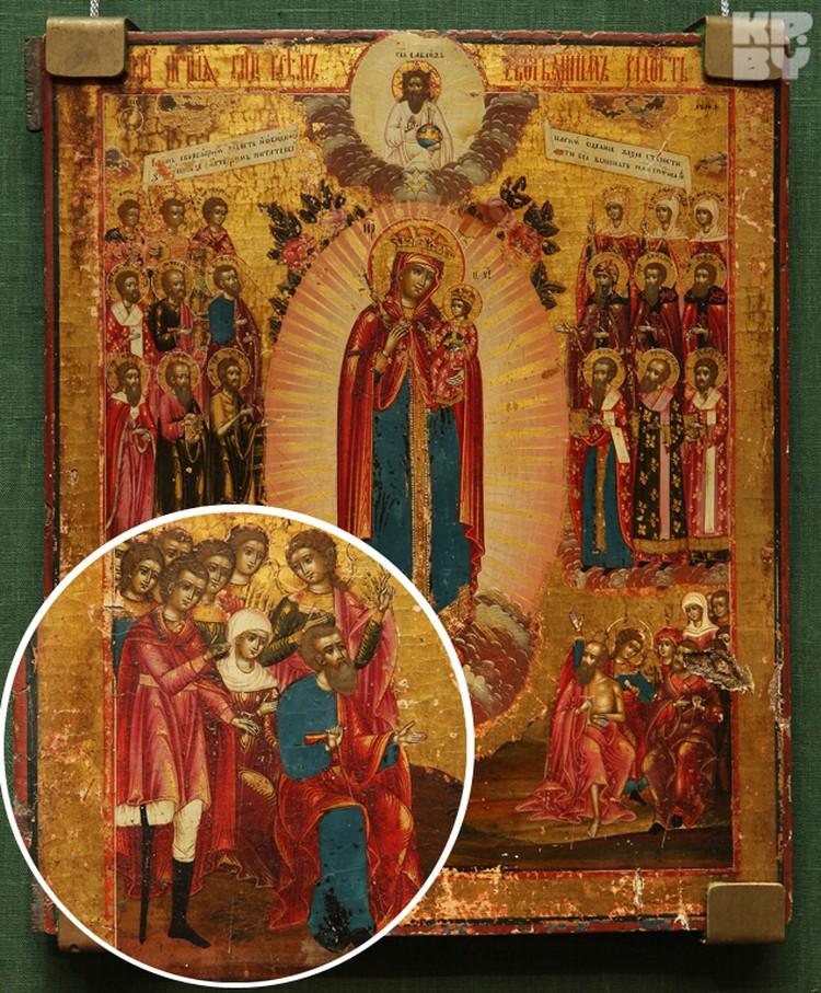 На иконе «Богоматерь Всем Скорбящим Радость» изображен воин на протезе.