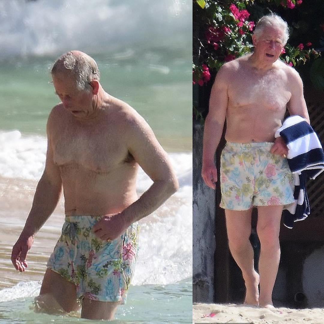 Принц Чарльз загорает и купается на Карибах