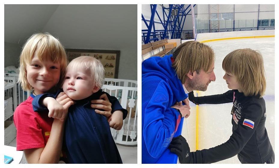 Гном Гномыч с братом и отцом Евгением Плющенко. Фото: Instagram Александра Плющенко